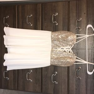Cream dress with gold embellishments